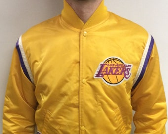 e08263229 Vintage 90 s Los Angeles Lakers NBA Basketball Purple   Gold Bomber Nylon  Starter Jacket (Made in USA) (Size M)