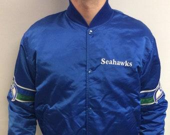 b7c85b0cf81 Vintage 90's Seattle Seahawks NFL Football Nylon Bomber Starter Jacket  (Made in USA) (Size L)