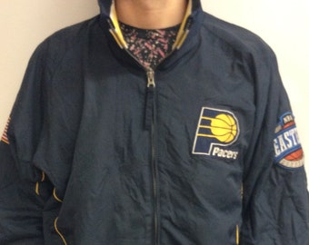 Vintage 90 s Indiana Pacers Basketball NBA Windbreaker Jacket (Size L XL) 19165af87