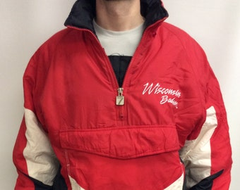 Activewear Jackets Vintage 90s Reebok Wisconsin Badgers Ncaa Coaches Pullover Jacket Red Xl College-ncaa