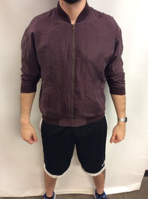 Vintage 90's Maroon Brown Silk Bomber Jacket (Size