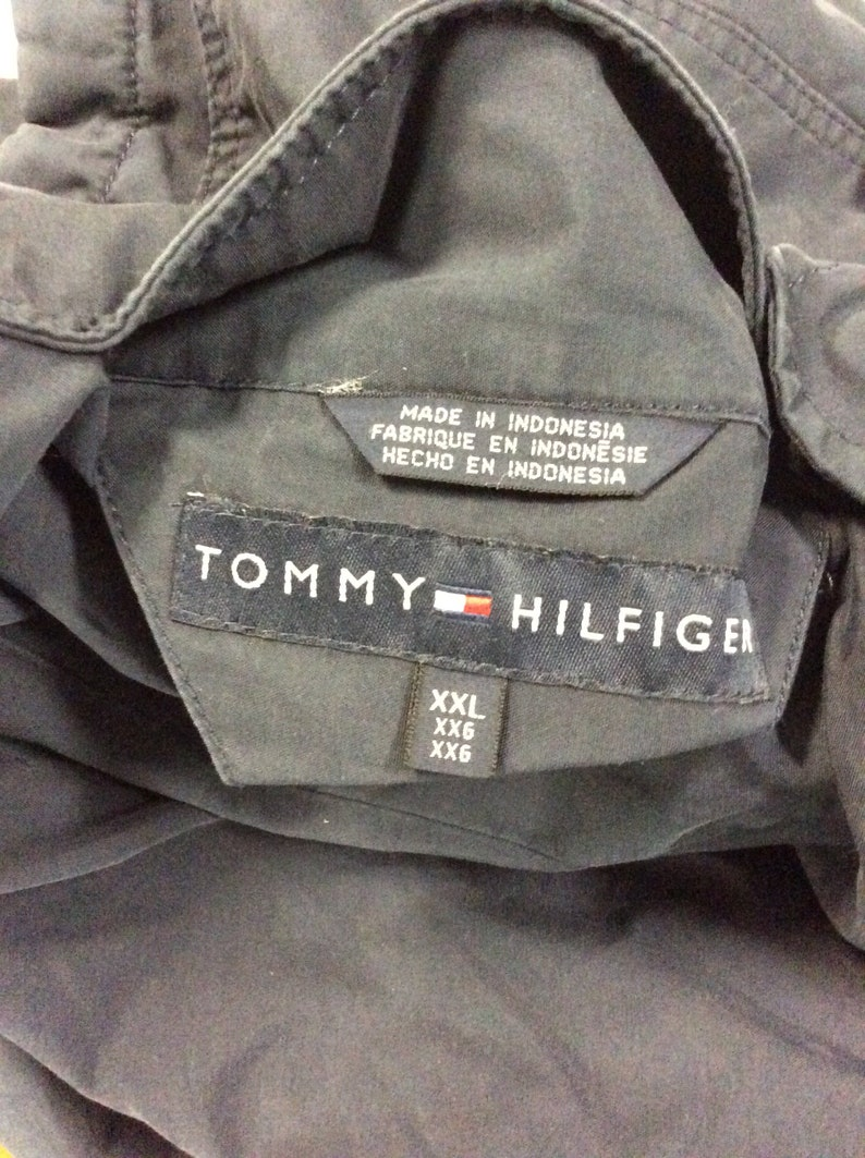 Vintage 90/'s Tommy Hilfiger Navy Blue /& Yellow Reversible Fleece and Nylon Sailing Gear Jacket Size XXL
