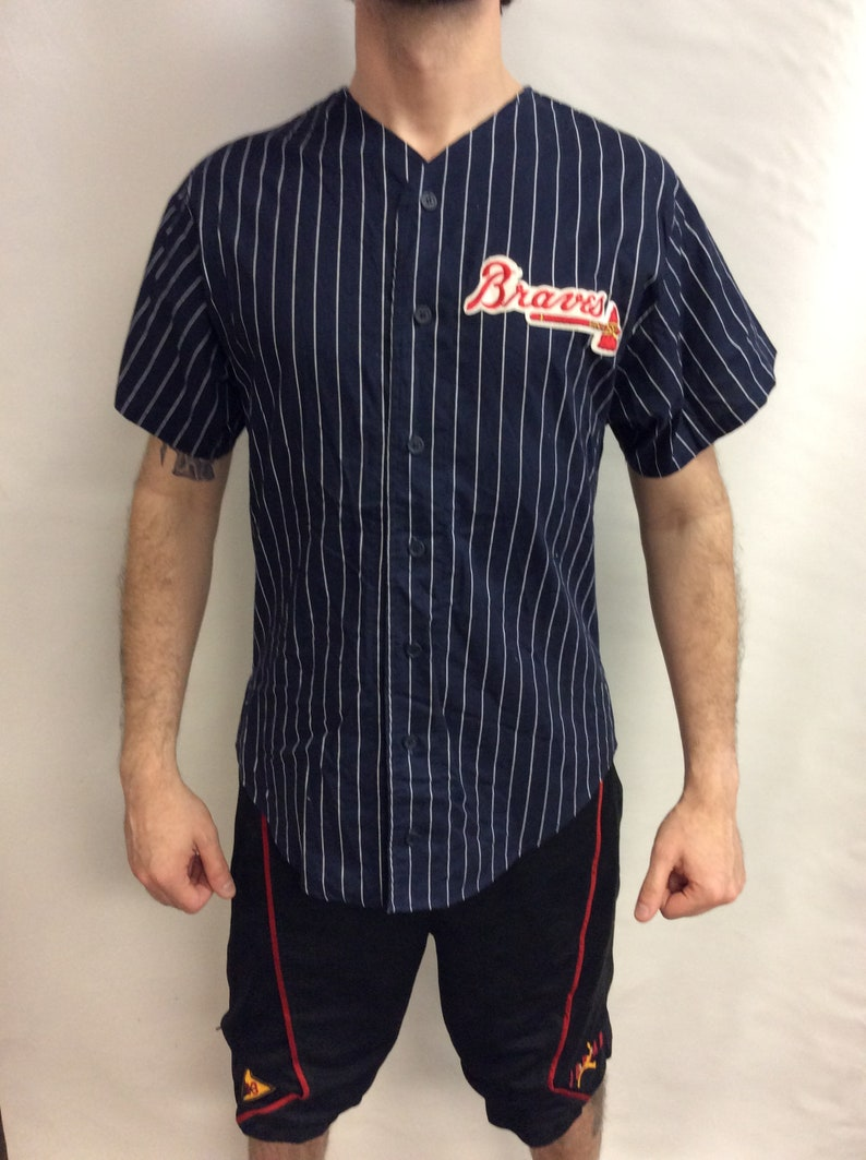 wholesale dealer 406fe 129f7 Vintage 90's Atlanta Braves Baseball MLB Chalk-Line Pinstripe Jersey (Made  in USA) (Size L)
