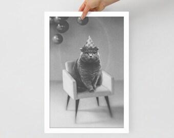 Party For One - Cat - Weird - Art Framed poster