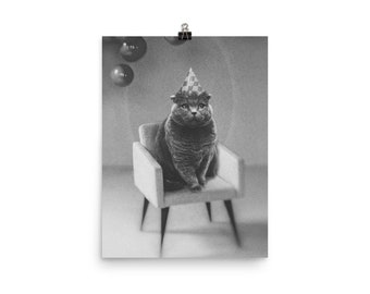 Party For One - Cat - Weird - Art Poster