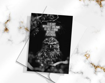 A Heart Without Dreams Is Like A Bird Without Feathers / Small Affordable Art Print/Postcard 4x6