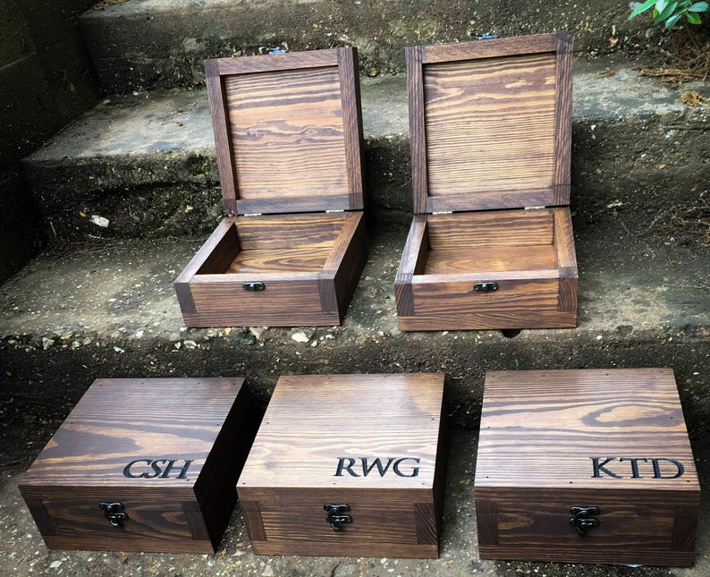 Groomsmen Gift Set Wooden Boxes Wooden Groomsmen Boxes Gift For The Groom Wedding Favors Gift For Men Monogram Box Gift Set For Men