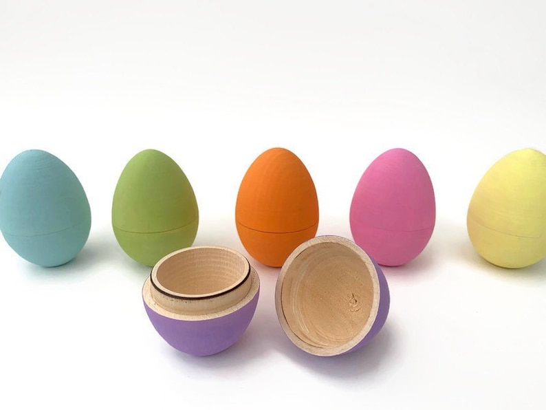 Hollow Wooden Easter Eggs Fillable Wood Eggs Easter Basket image 0
