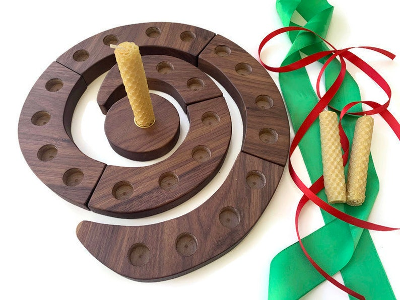 Advent Spiral  Wooden Candle Holder  Holiday Centerpiece  image 0