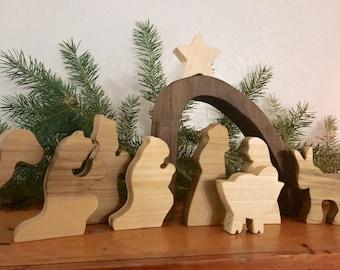 Wooden Nativity Set - Chirstmas Decorations - Children Nativity Scene - Modern Nativity Set - Christmas Manger - Nativity Figurines