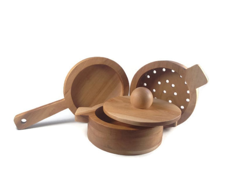 Wood Pot Pan and Colander Set  Kitchen Toys  Cookware  image 0