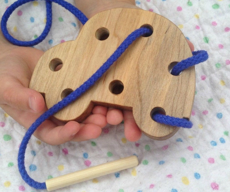 Wood Car Lacing Toy Gifts for Children Montessori Toddler image 0