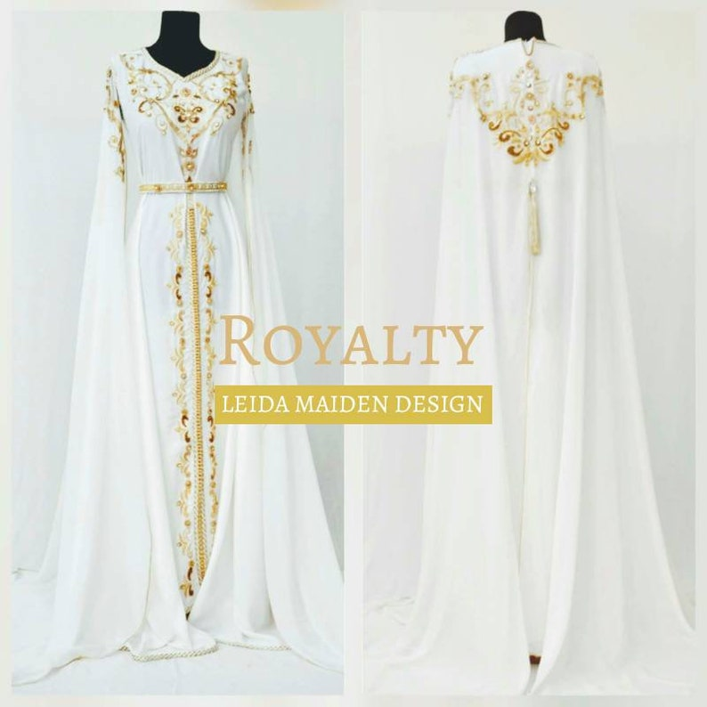Royal Cape White Silk Crepe With Gold Embroidery And Etsy