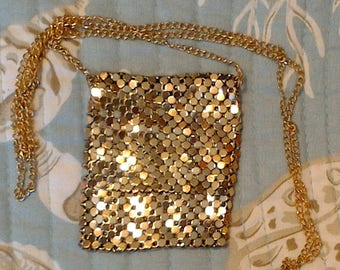 Gold mesh mini flap purse necklace