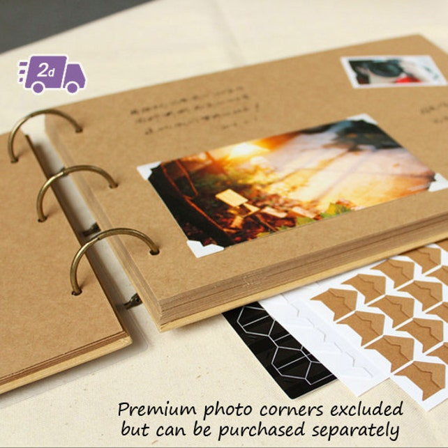 Plain Hardcover Scrapbook Photo Album W Photo Frame Wedding Etsy