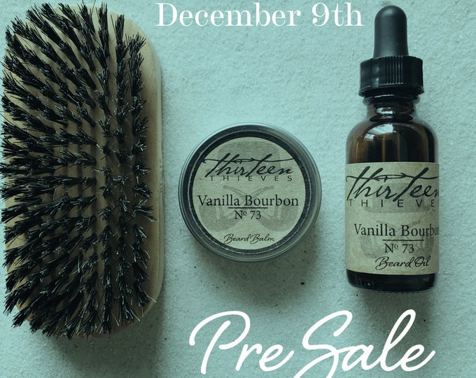 Featured listing image: Presale Beard Gift Grooming Kit Oil Box, Handcrafted Balm, Boar Bristle Brush