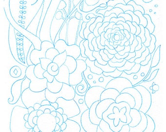 Set of 10 Watercolouring Pages, Unique Drawing Designs of Flowers and Patterns