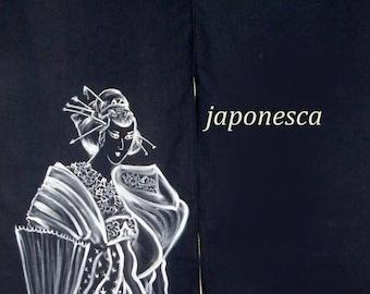 """Cortina japonesa noren en algodón, para puertas y pasillos, especial señoras. Pintada a mano con ukiyo e de Hokusai y """"mujer"""" en japonés"""