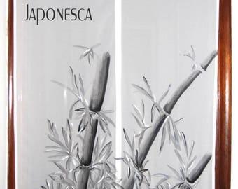 """Cortina japonesa  noren blanca pintada a mano en anverso y reverso:""""Bambú"""", para puertas, ventanas, pasillos y delimitar espacios."""
