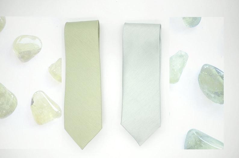 Peridot olivine#362,silver sage#131 green FallAutumn-Spring,wedding groomsmen,wedding,sage grey semi shiny silk blend mute green neck ties