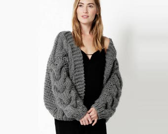 ff5ff5c295d2 Chunky Oversized Hand Knitted 100% Alpaca Wool Cable Bomber Cardigan OS