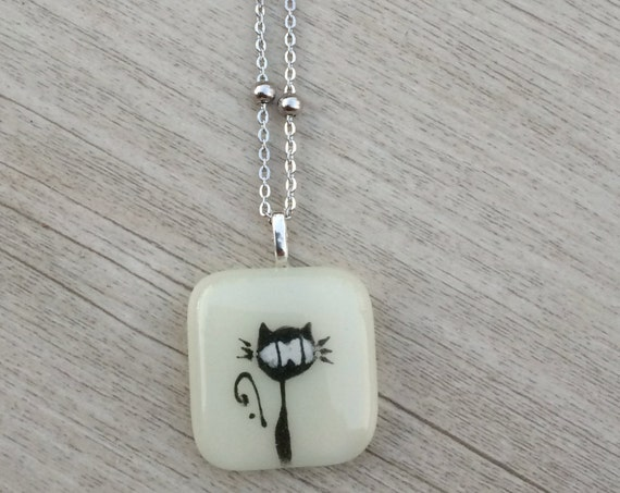Fused glass pendant, women jewelry wire necklace, jewelry pendant fused glass, fused glass pendant, jewellery, black cat on cream glass