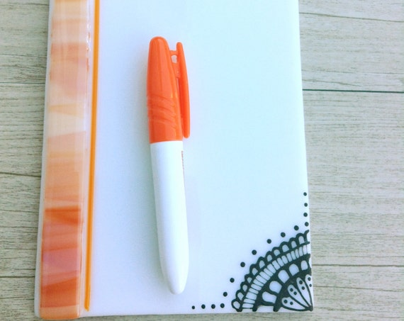 Dry erase fused glass memo  , fused glass white board, note pad memo board ,board