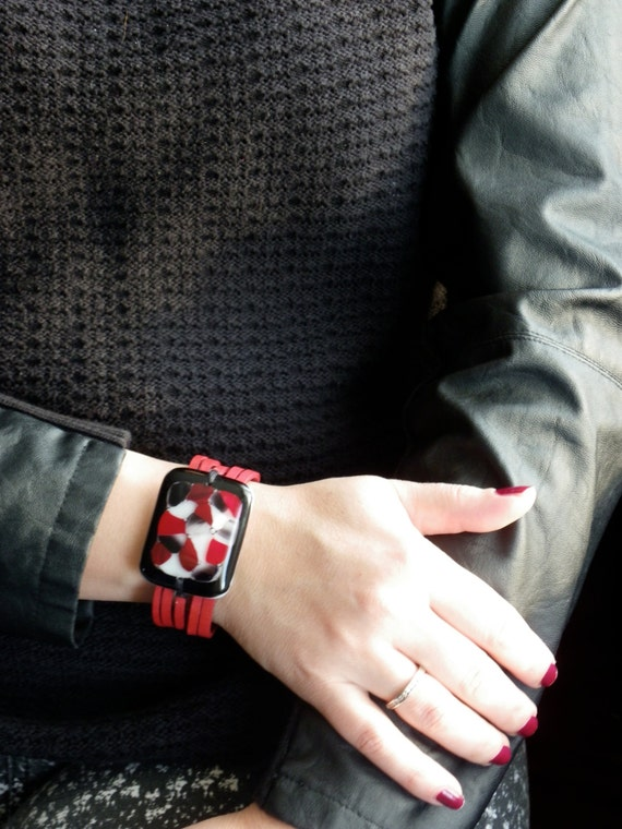 Big Red leather bracelet and fused glass , women jewelry , leather  cuff bracelet ,  red and black fused glass bracelet , handmade ,women