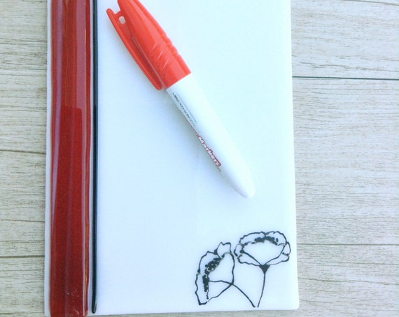 Dry erase fused glass memo  , fused glass white board, note pad memo board