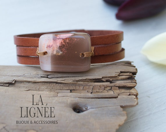 Brown  and pink leather bracelet and fused glass, women jewelry bracelet leather fused glass cuff, fused glass bracelet handmade