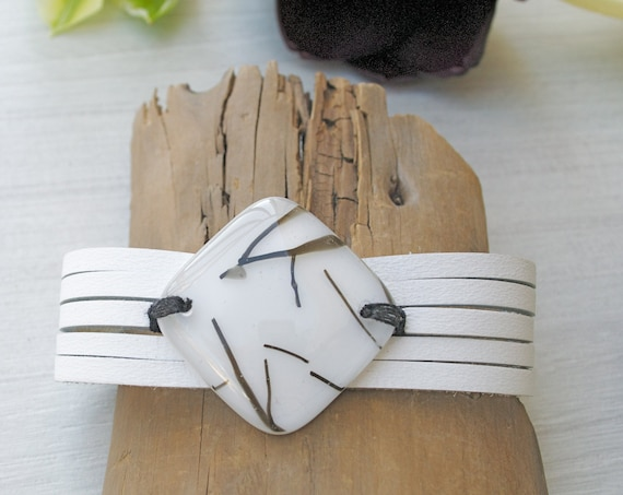 White leather bracelet and fused glass , women jewelry , leather  cuff bracelet , white and black fused glass bracelet , handmade ,women