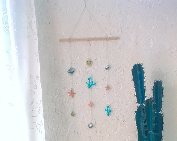 Wall decor seabed fused glass, shells, nautical room decoration mobile