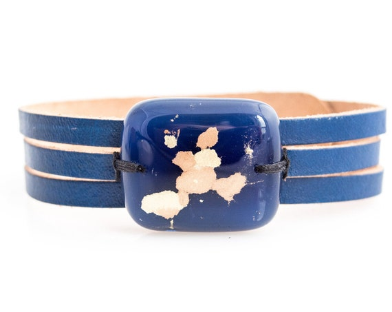 Blue leather bracelet and fused glass, women jewelry, bracelet leather fused glass cuff, fused glass bracelet