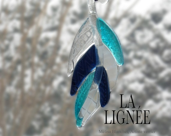 Fused glass shaped feather turquoise and pink champagne