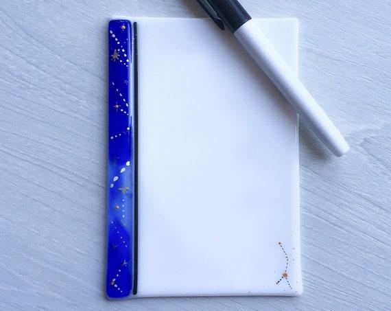 Dry erase fused glass memo  , fused glass white board, note pad memo board , board