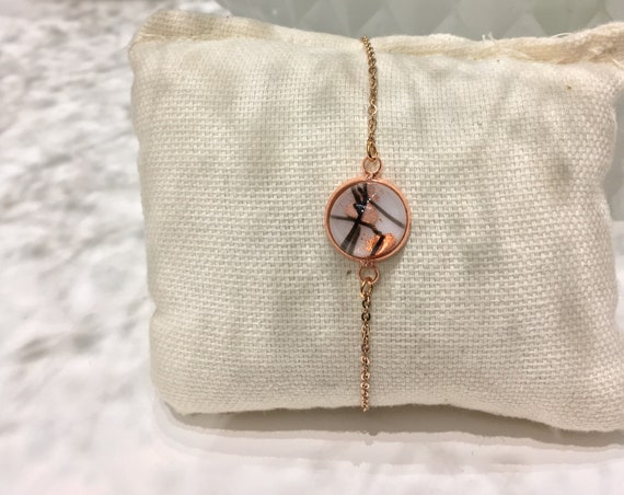 Bracelet, jewelry for woman glass fused on chain rose gold.