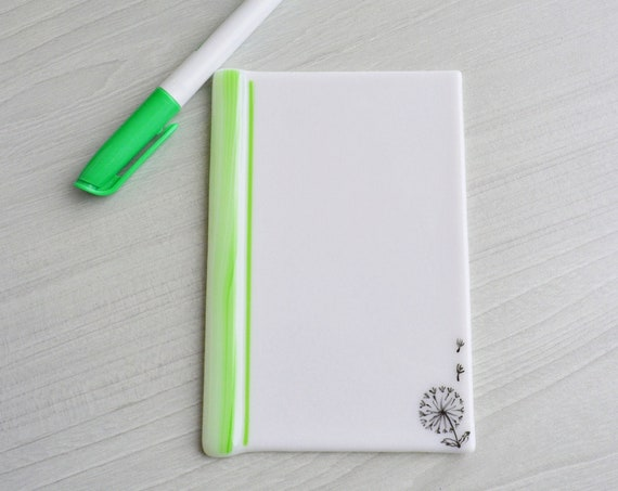 Mother's day gift ,Dry erase fused glass memo dandelion , fused glass white board, note pad memo board , board