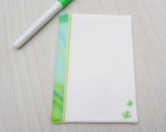 Canada day gift ,Dry erase fused glass memo  , fused glass white board, note pad memo board , board