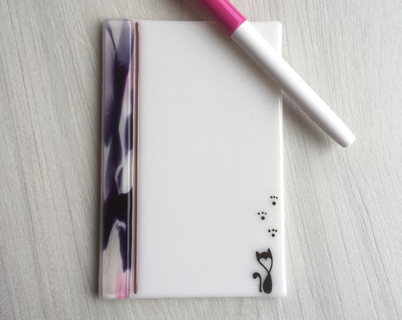 Ready to ship mother's day gift ,Dry erase fused glass memo  , fused glass white board, note pad memo board , board