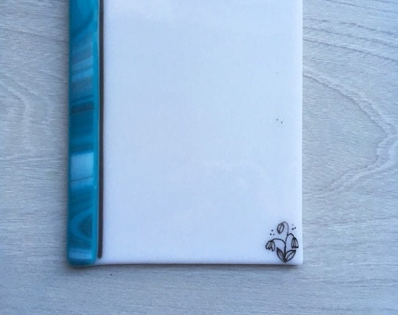 Mother's day gift ,Dry erase fused glass memo  , fused glass white board, note pad memo board , board