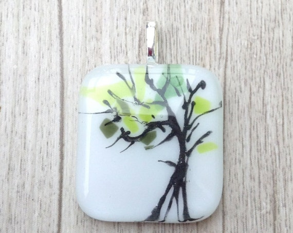 Fused glass  tree pendant, handmade unique necklace