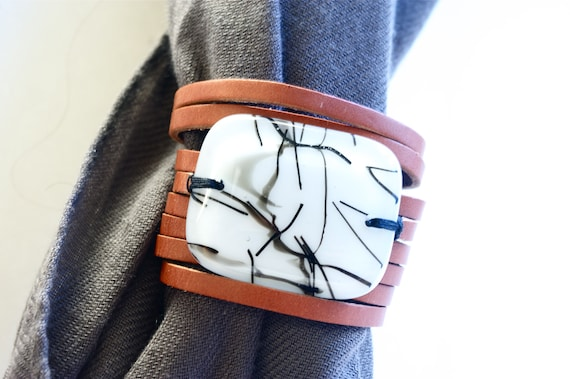 Leather Cuff for Scarf  , Infinity Scarf Accessory, Leather Bracelet brown