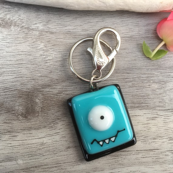 Keychain cute teal monster / handmade fused glass , acessories key holder women , teans, men