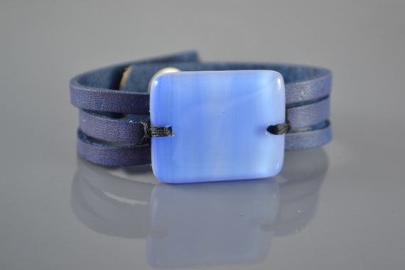 blue leather bracelet and fused glass , custom order