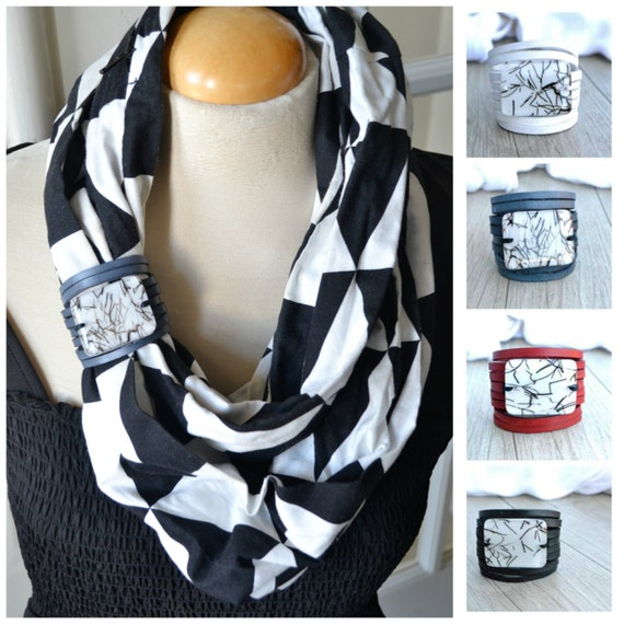 Scarf cuff , Infinity Scarf Accessory, Leather Bracelet Black Leather