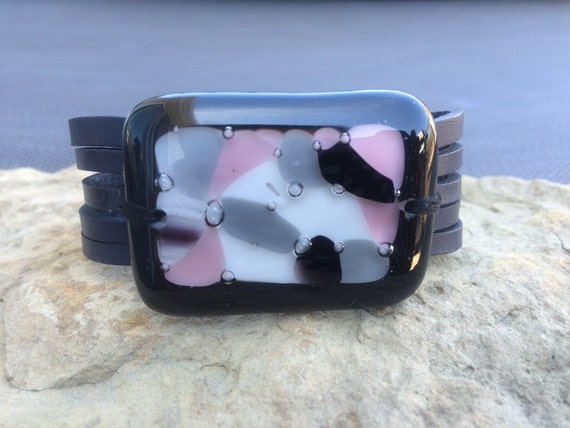Pink and gray leather bracelet and fused glass , women jewelry , black leather cuff bracelet ,  fused glass bracelet , handmade ,women
