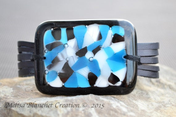 Large black leather bracelet and blue fused glass , handmade, statement piece of jewelry