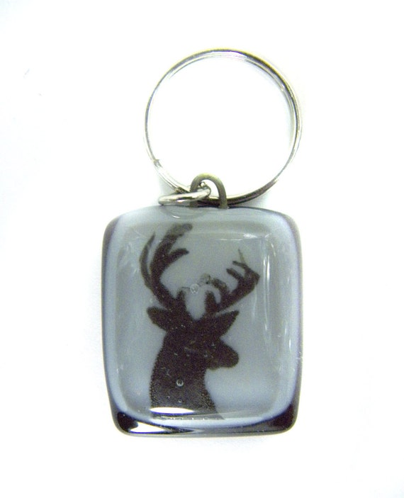 Men Keychain Deer  , handmade fused glass , keyholder ,keyring