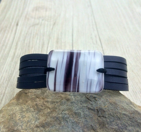 Black leather bracelet and fused glass, women jewelry, bracelet leather fused glass cuff, fused glass bracelet