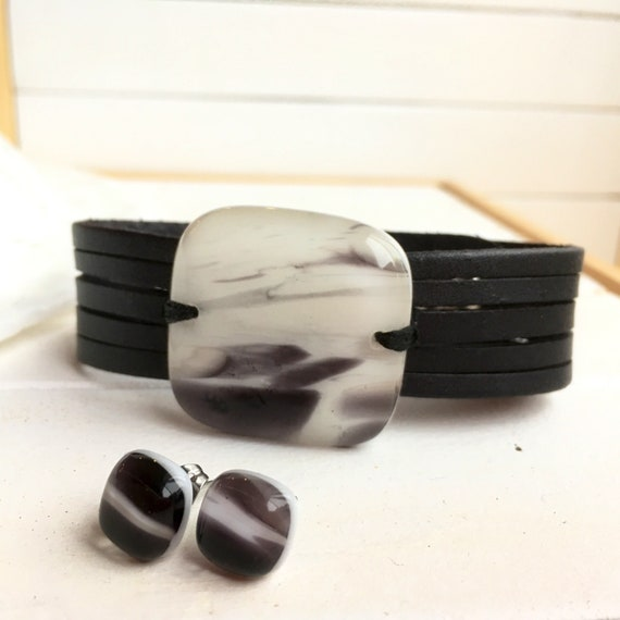 Gift set bracelet  and earrings black and white , fused glass fused glass , women jewelry fused glass , handmade jewelry